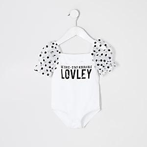 Mini - Witte organza bodysuit met print voor meisjes
