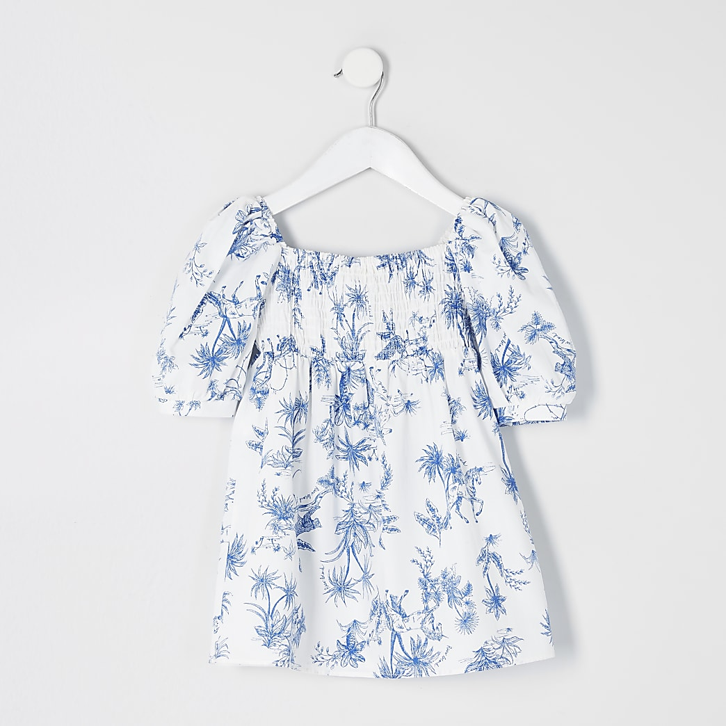Mini girls white printed puff sleeve dress