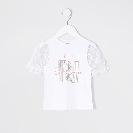 Mini girls white printed puff sleeve t-shirt