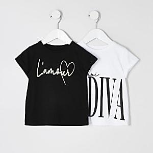 Mini - Wit T-shirt met print voor meisjes set van 2