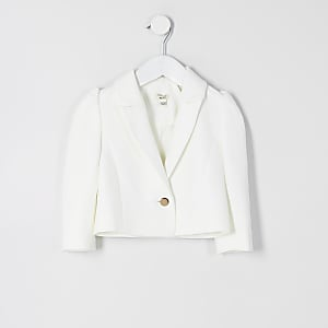 Mini girls white puff sleeve cropped blazer