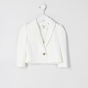 Mini - Witte cropped blazer met pofmouwen voor meisjes