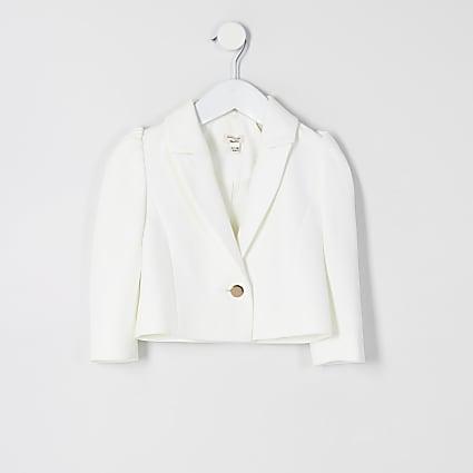Mini girls white puff sleeve cropped blazer