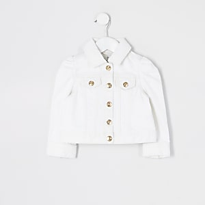 Mini girls white puff sleeve denim jacket