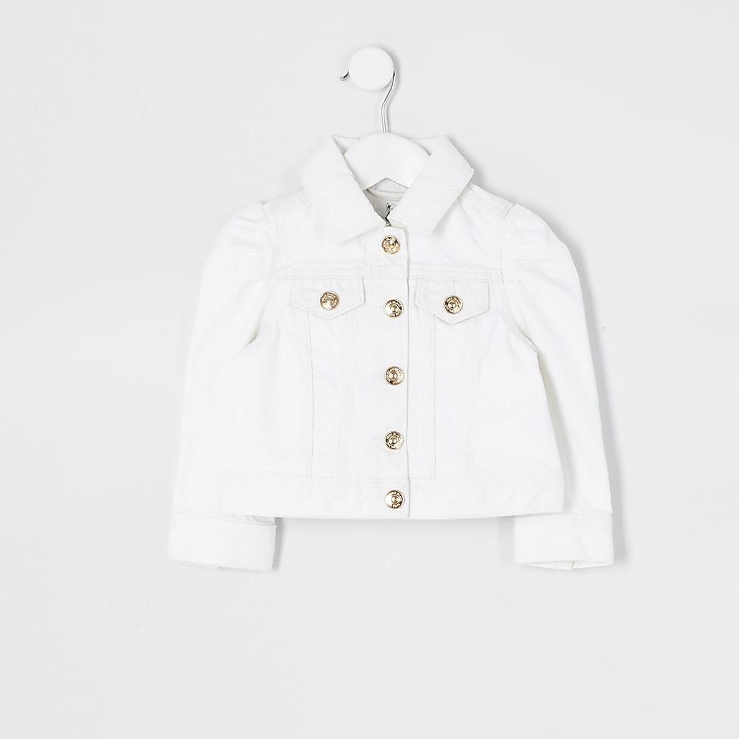 Mini girls white puff sleeve denim jacket