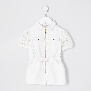 Mini Girls White Puff Sleeve Denim Playsuit