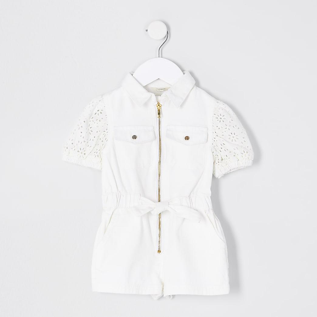 Mini Girls White Puff Sleeve Denim Playsuit