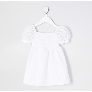 Mini girls white puff sleeve dress