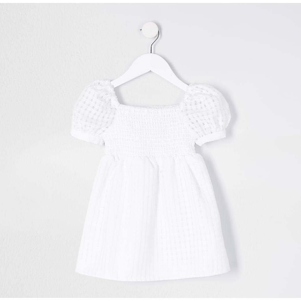 Mini girls white puff sleeve dress