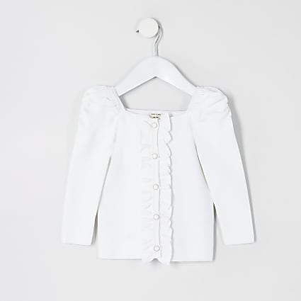 Mini girls white puff sleeve knitted cardigan