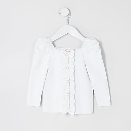 Mini girls white puff sleeve knitted cardigan