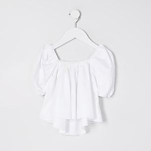Mini Girls White Puff Sleeve Top