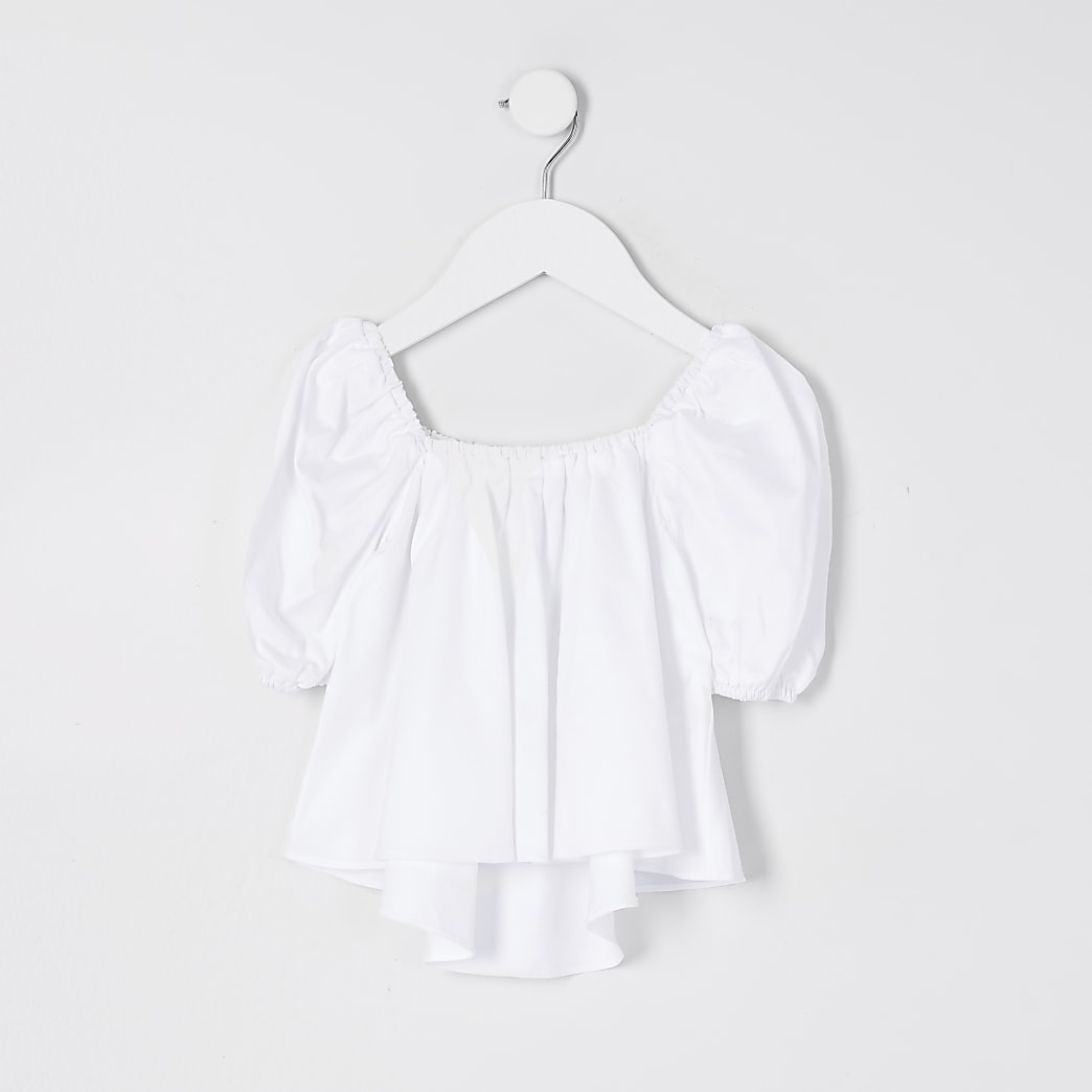 Mini Girls White Puff Sleeve Top