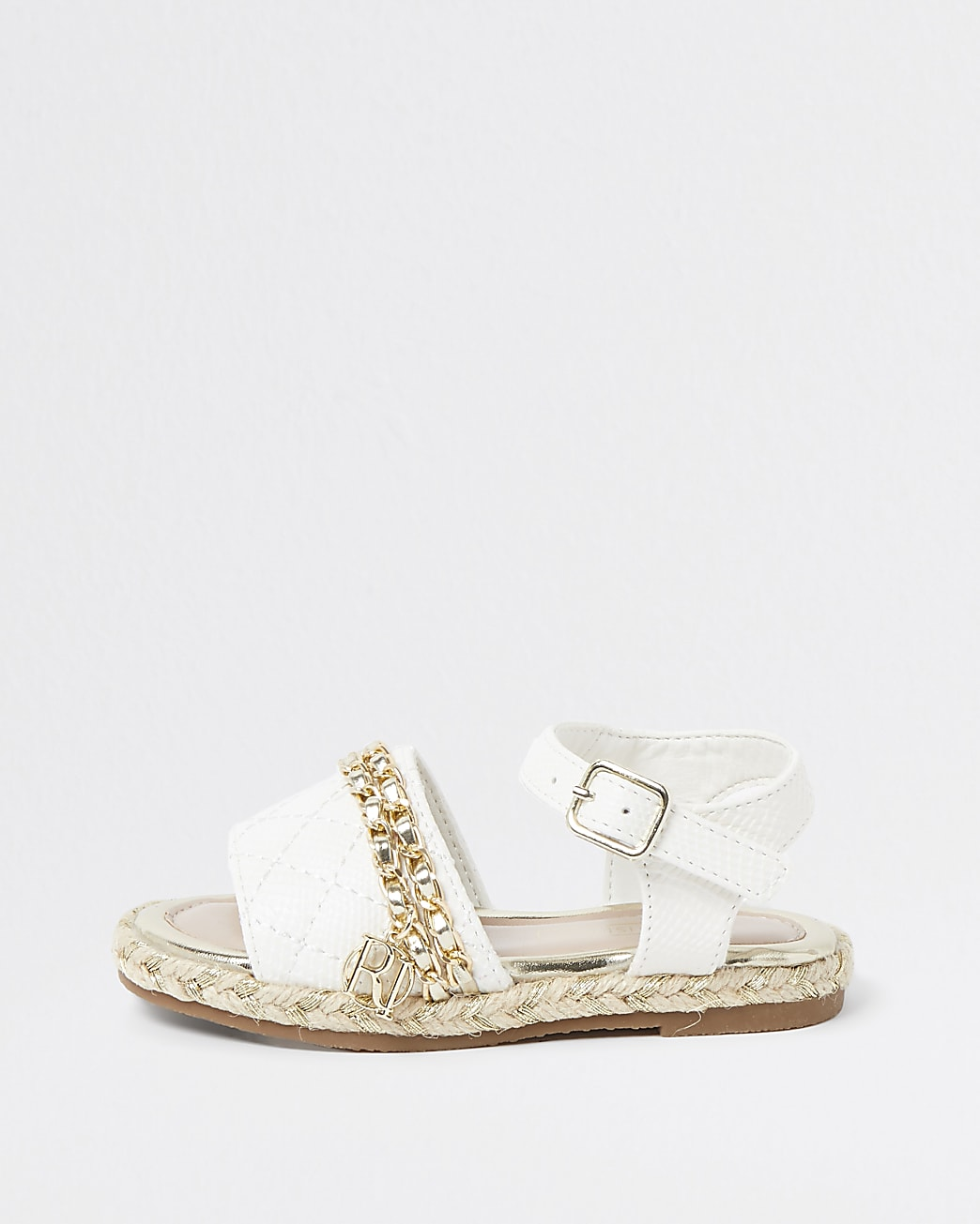 Mini girls white quilted chain sandals