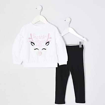 Mini girls white reindeer sweat outfit