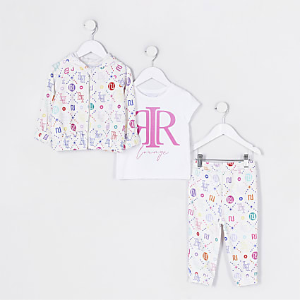 Mini girls white RI 3 piece loungewear set