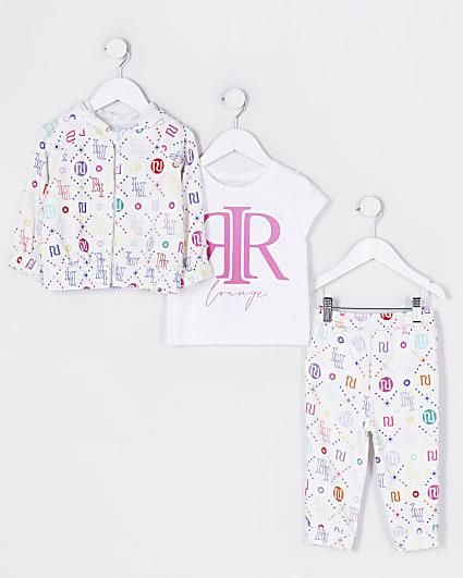 Mini girls white RI 3 piece loungewear set