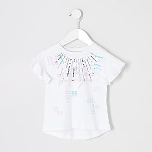 T-shirt blanc RI imprimé Active pour mini fille