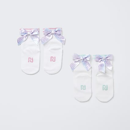 Mini girls white RI bow socks 2 pack