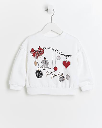 Mini girls white RI Christmas jumper