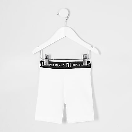 Mini girls white RI cycling shorts