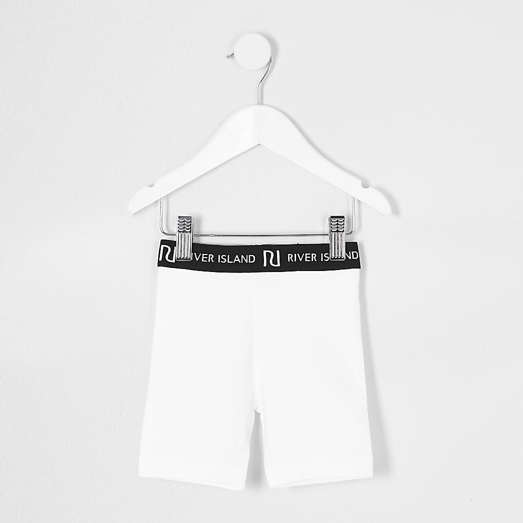 Mini girls white RI cycling shorts