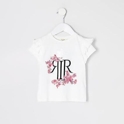 Mini girls white RI floral frill T-shirt