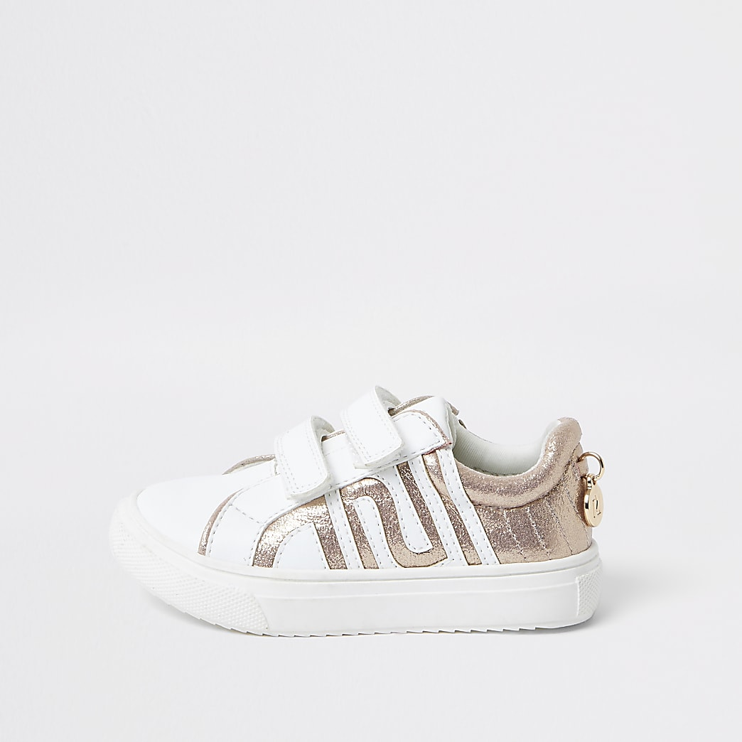 Mini girls white RI metallic trainers