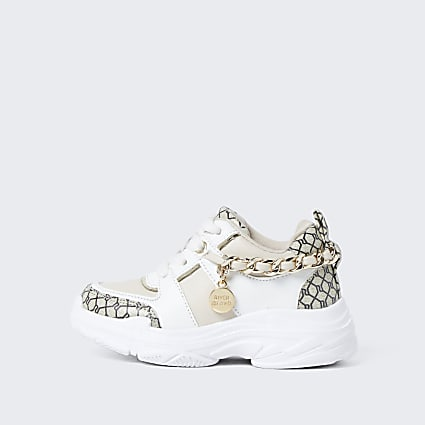 Mini girls white RI monogram chain trainers
