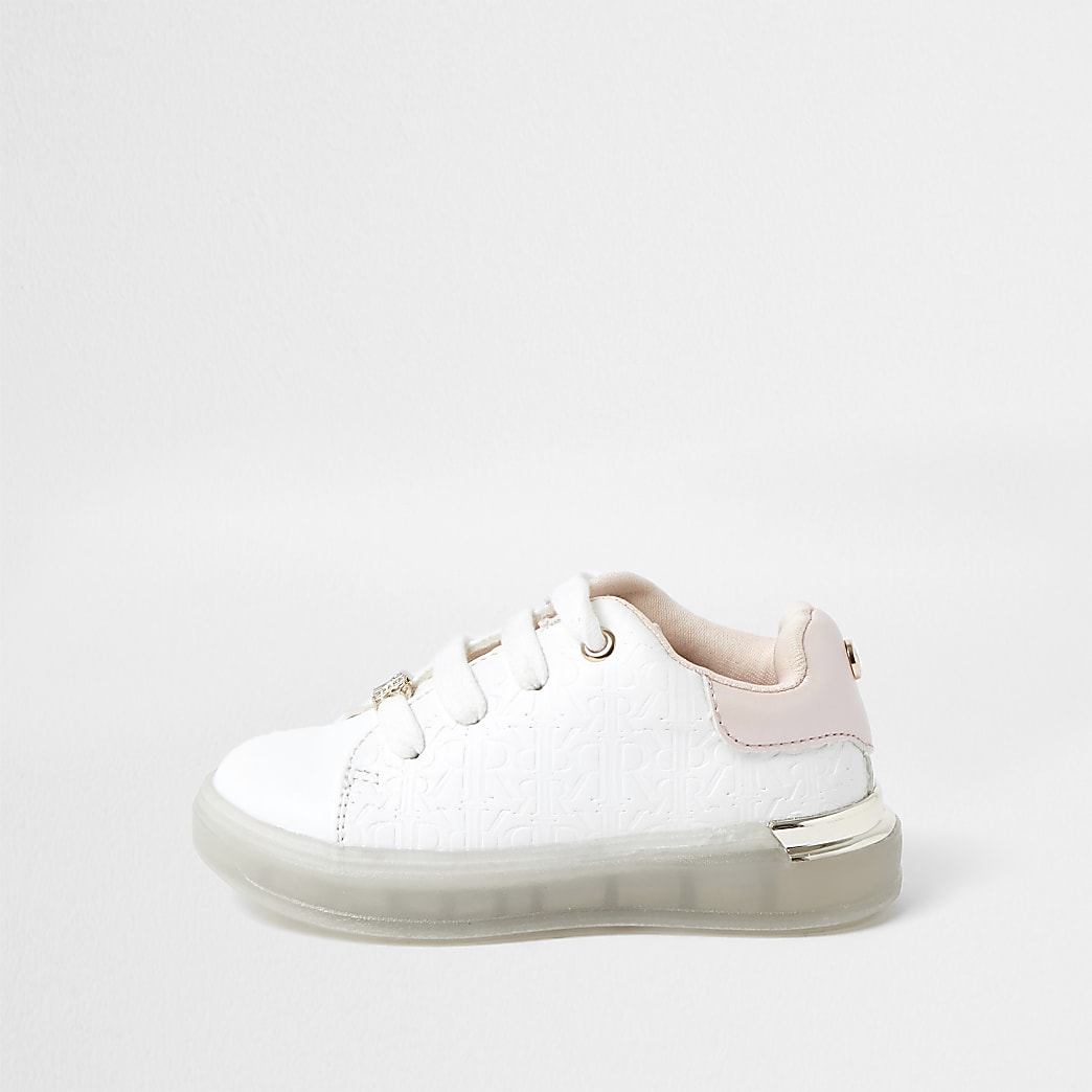 Mini girls white RI monogram print plimsoles