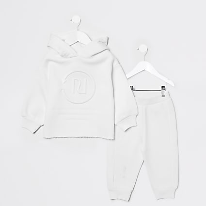 Mini girls white RI One hoodie jogger outfit