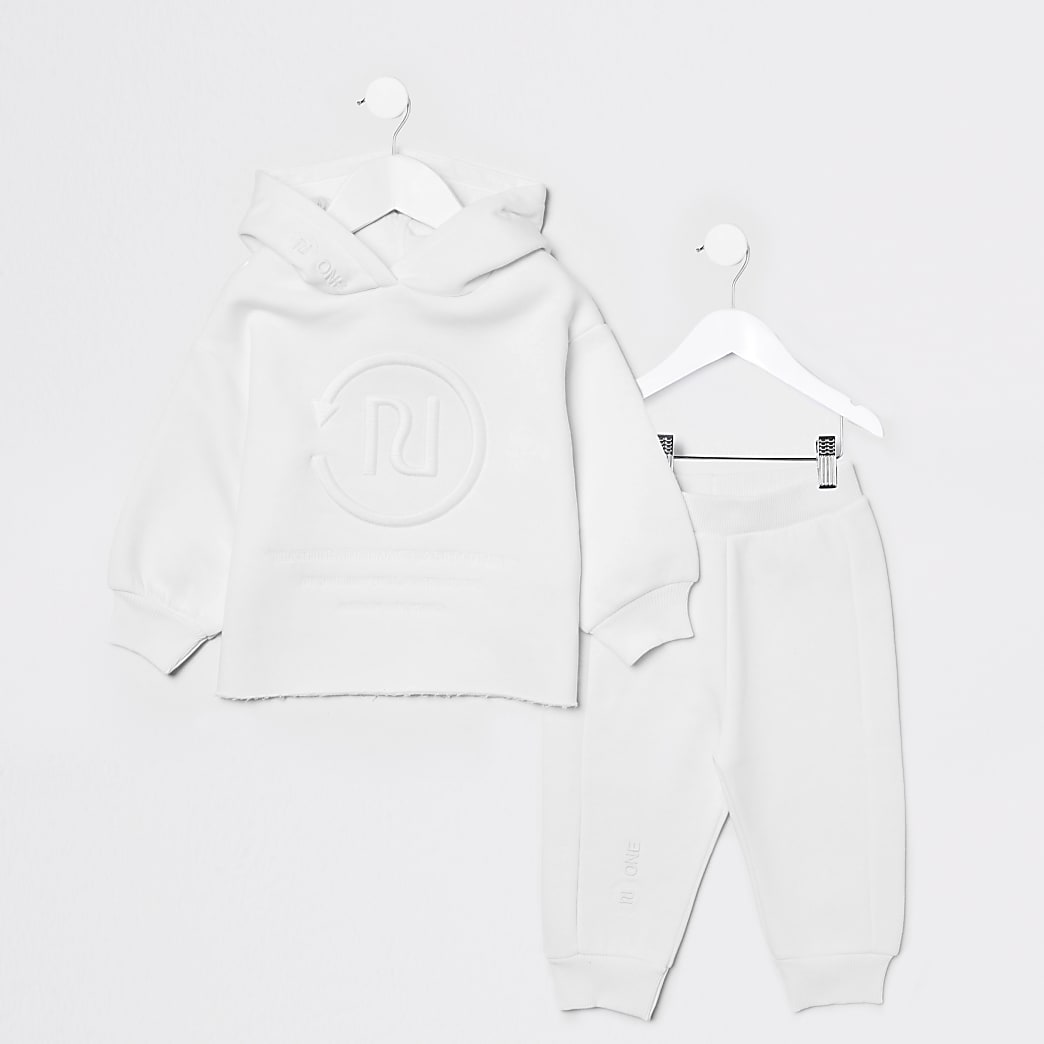 Mini girls white RI One hoodie jogger outfit
