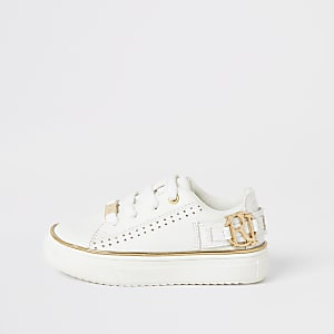 Mini girls white RI perforated trainers