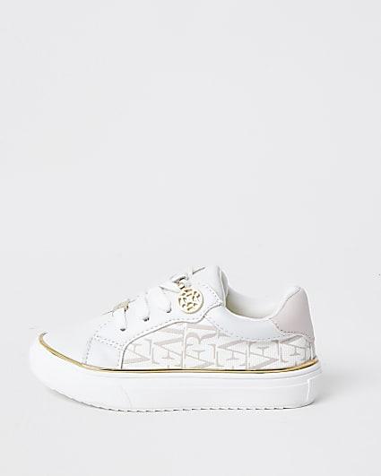 Mini girls white RI print trainers