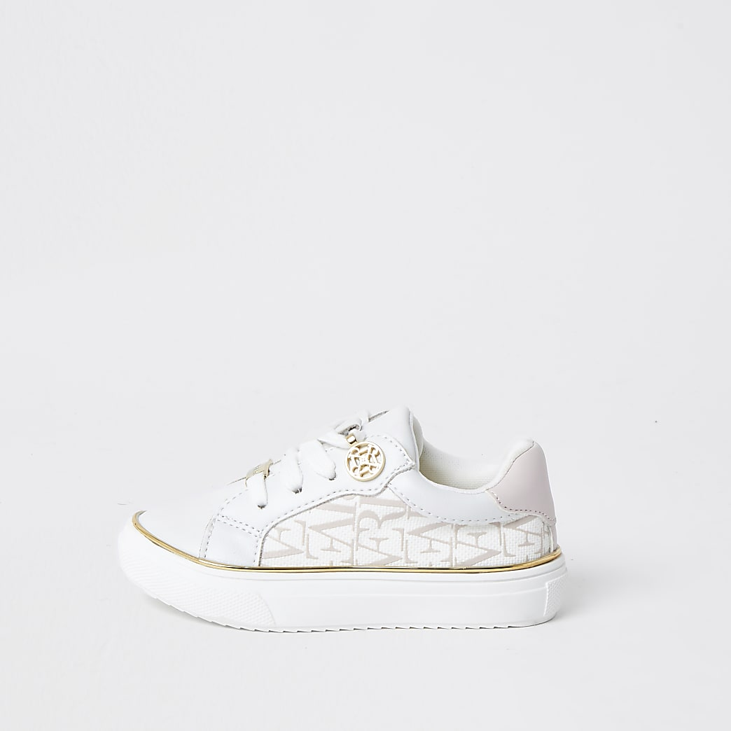 Mini girls white RI print trainers