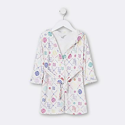 Mini girls white RI rainbow velour robe