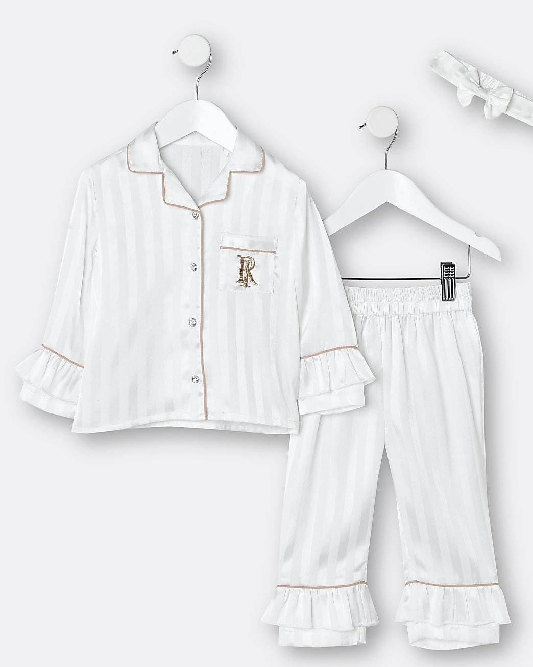 Mini girls white RI ruffle 3 piece pyjama set