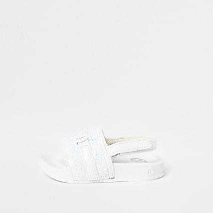 Mini girls white RI sliders