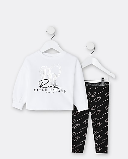 Mini girls white RI sweatshirt outfit