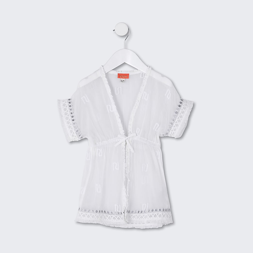 Mini girls white RI trimmed kaftan