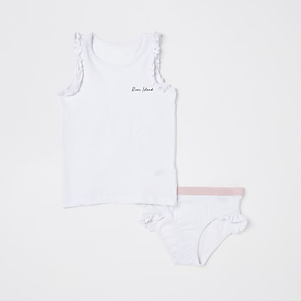 Mini girls white RI vest and brief set