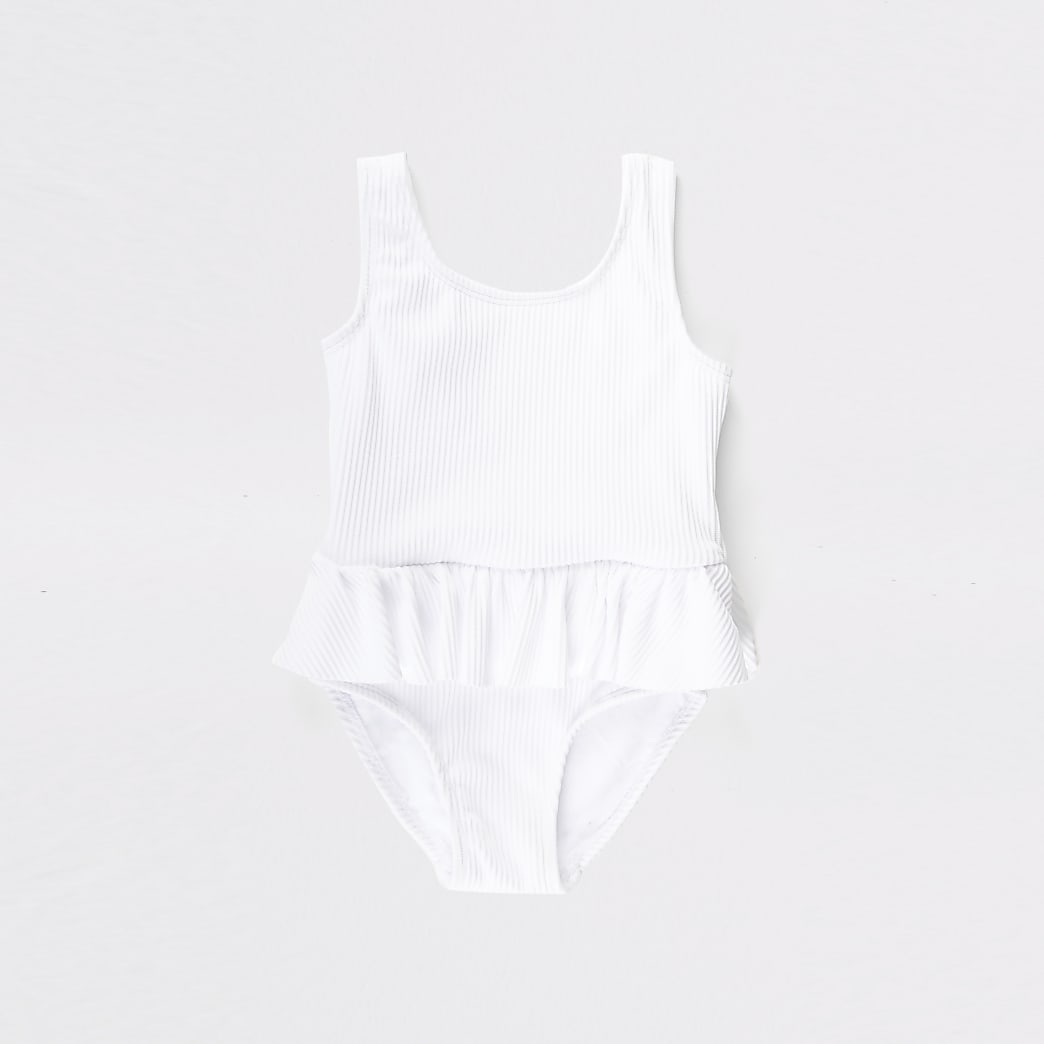 Mini girls white ribbed peplum swimsuit