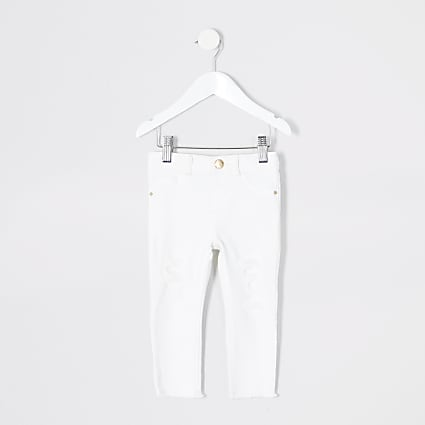 Mini girls white ripped Molly jegging