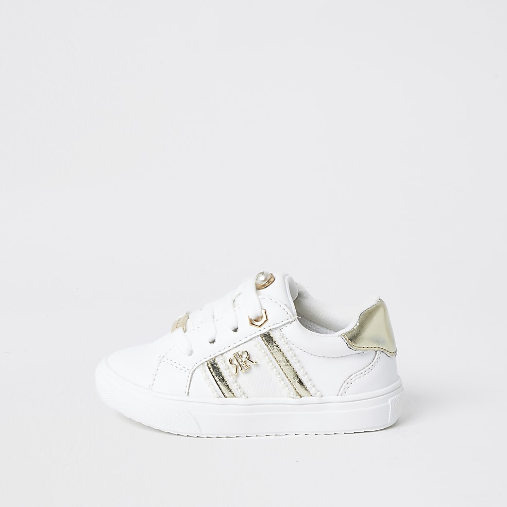 Mini girls white RIR pearl trim trainers
