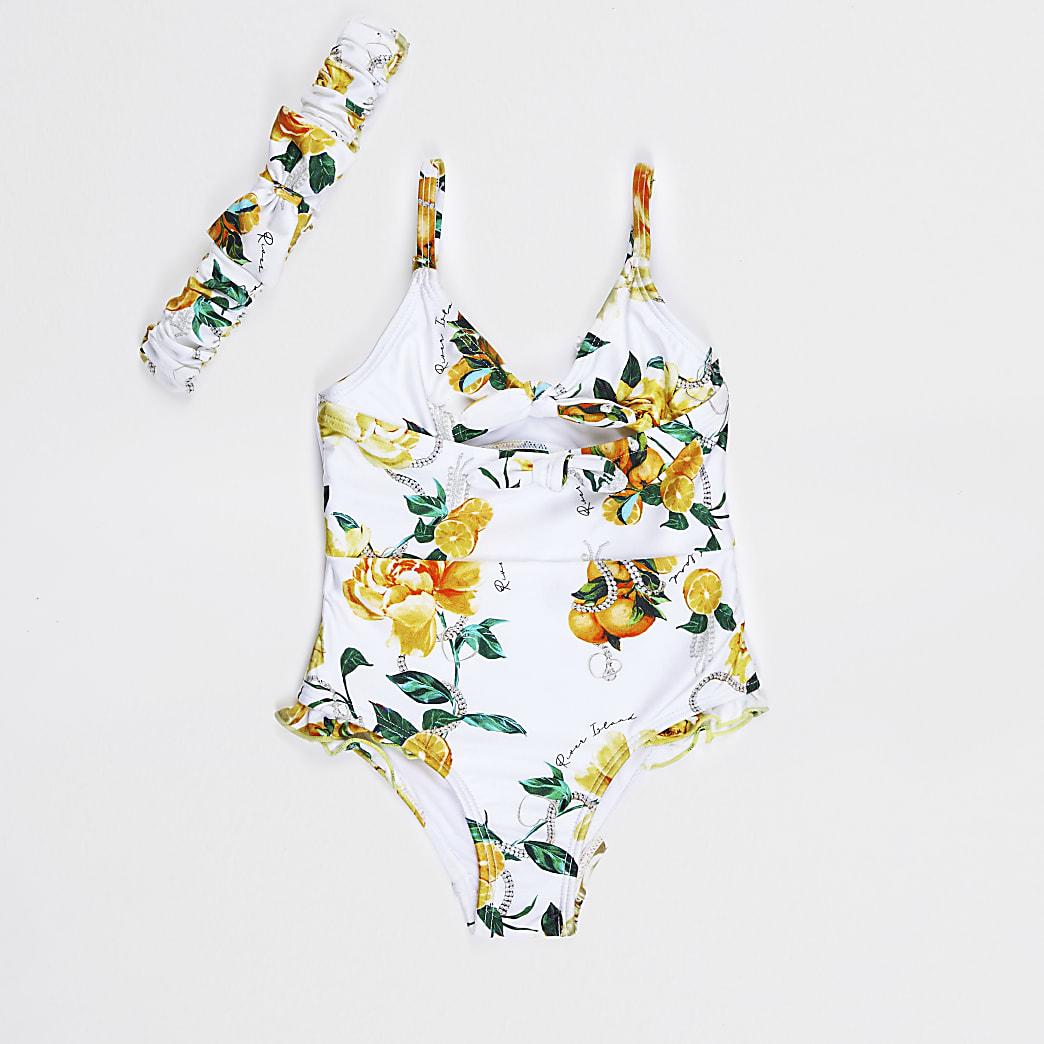 Mini girls white rose swimsuit & headband set