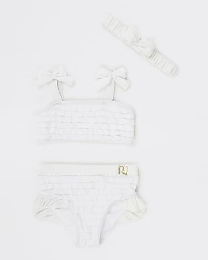 Mini girls white ruffle bikini set