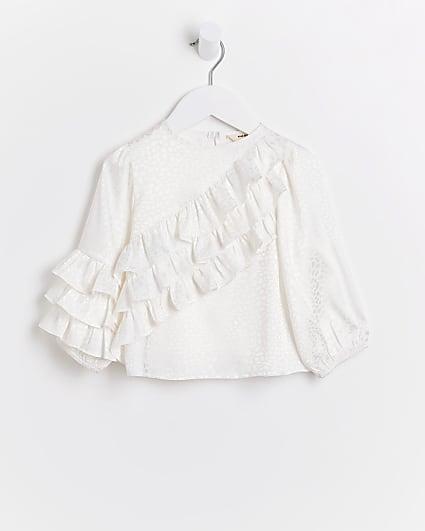 Mini girls white ruffle blouse top