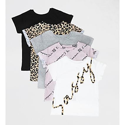 Mini girls white 'sassy' print T-shirt 5 pack