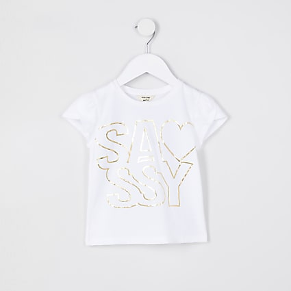 Mini girls white 'Sassy' t-shirt