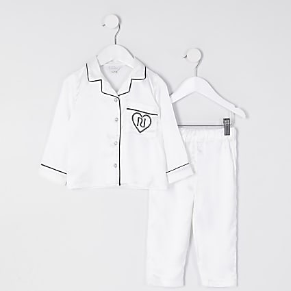 Mini girls white satin RI pyjama set